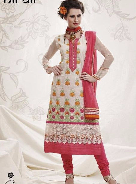 Nirali 1632 A  Pink and White Color Aarkandi Cotton Designer Suit