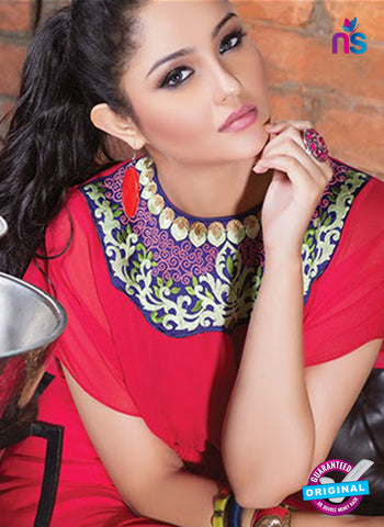 NS11763 Red and Golden Georgette Tunic Online