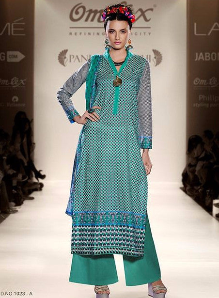 Om Tex 1023A Sea Green Color Lawn Cotton Designer Suit