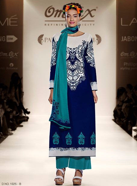Om Tex 1025B Blue Color Lawn Cotton Long Designer Suit