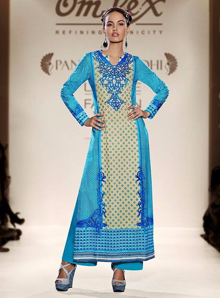 Om Tex 1027B Blue Color Lawn Cotton Designer Suit