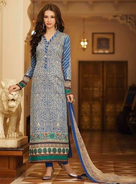 Om Tex 1085A Blue Color Glazed Cotton Long Designer Suit