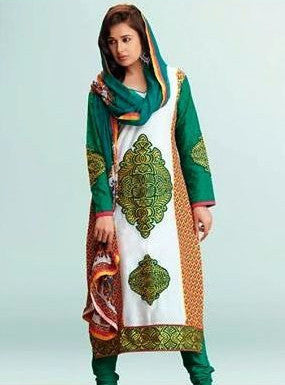 Om Tex 11008 Green Color Cotton Long Designer Suit