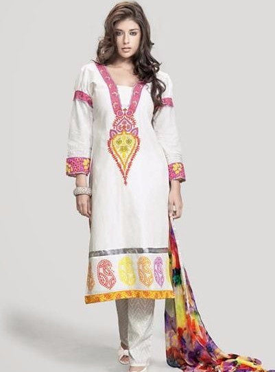 Om Tex 11009A White Color Cotton Long Designer Suit