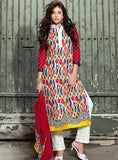 Om Tex 11011A Multicolor Cotton Long Designer Suit