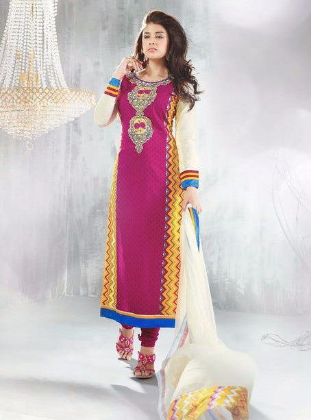 OM Tex 16011 Pink Color Cotton Designer Suit