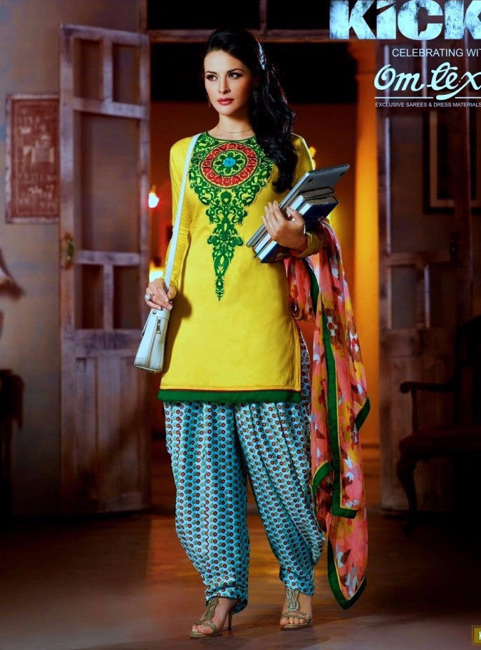 Om Tex 4A Yellow Color Patiala Style Cotton Designer Suit
