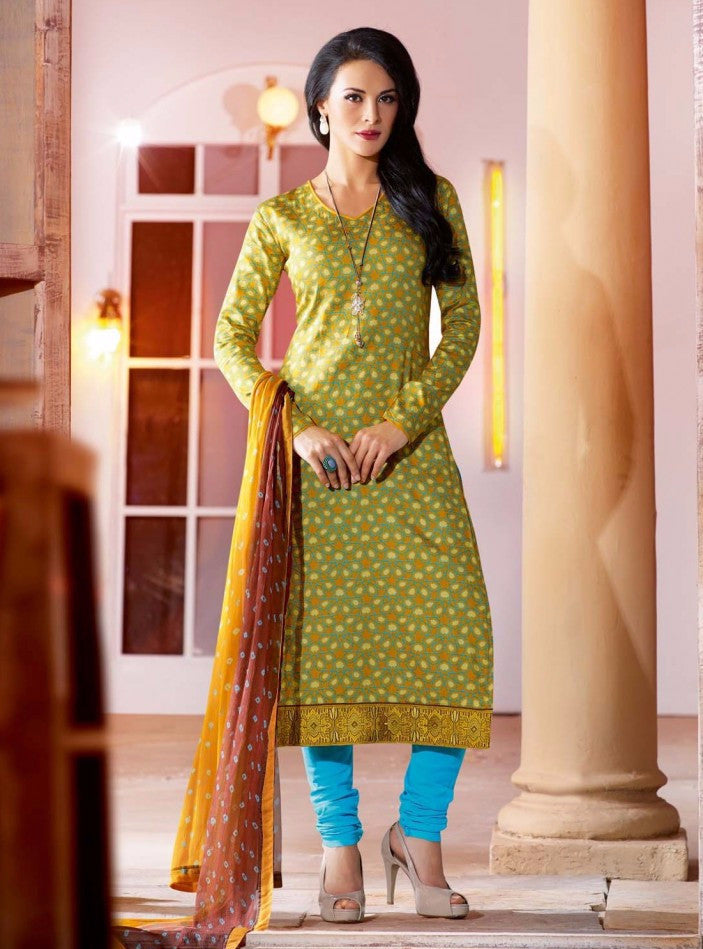 Om Tex 6 Green Color Cotton Designer Suit