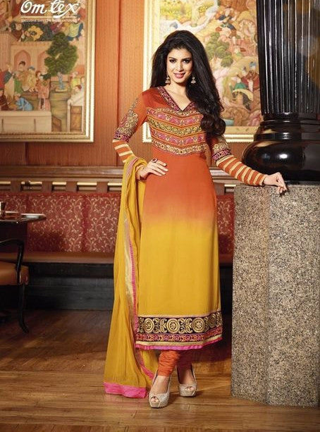 Om Tex 706 Yellow Color Georgette Long Designer Suit