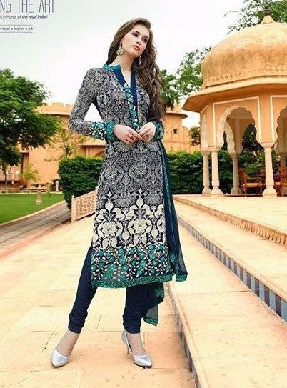 Om Tex 72 Blue Color Georgette Long Designer Suit