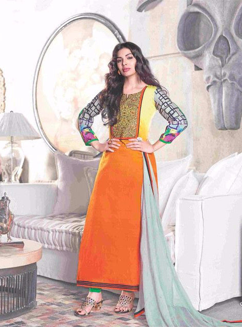 Om Tex NAISHAA 18006A Peach Color Cotton Designer Suit