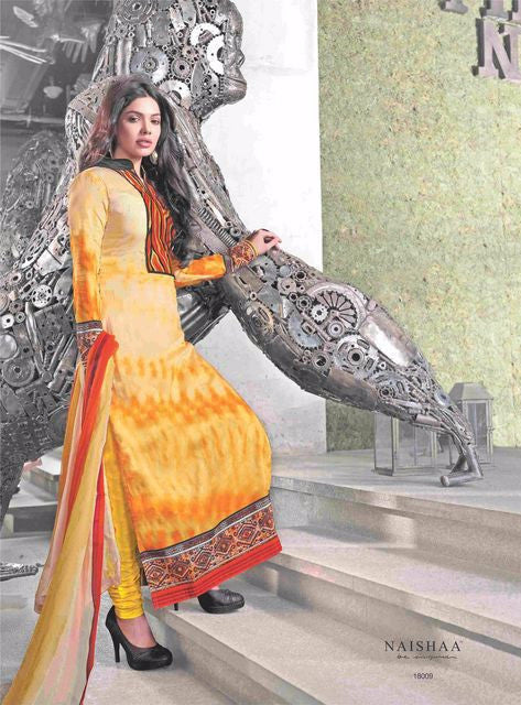 OM TEX NAISHAA 18009 Yellow Color Cotton Designer Suit