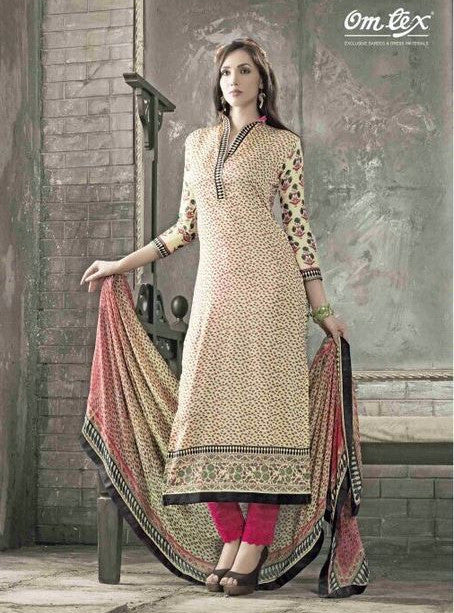 Omtex 1003A Beige Color Long Glaze Cotton Designer Suit