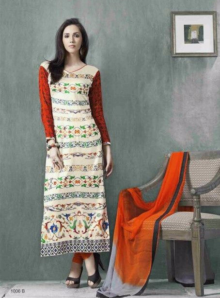 Omtex 1006B Beige Color Long Glaze Cotton Designer Suit