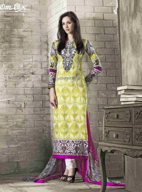 Omtex 1007A Green Color Long Glaze Cotton Designer Suit