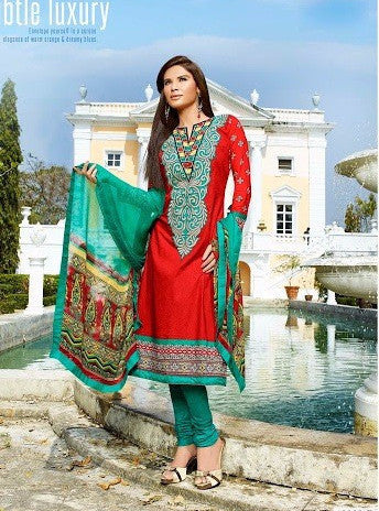 Omtex 12003 B Red Color Cotton Designer Suit