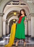 Omtex 13013 Green Color Cotton Designer Anarkali Suit