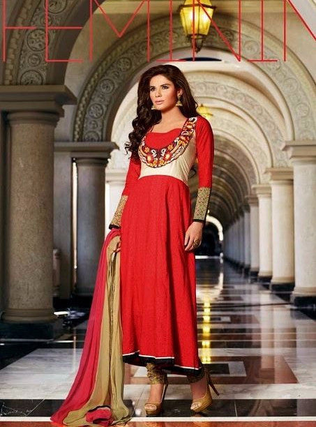 Omtex 13014 Red Color Cotton Designer Anarkali Suit