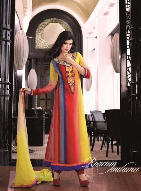 Omtex 17004 Multicolor Chiffon Long Designer Suit