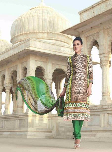Omtex 21005A Beige & Green Color Pashmina Designer Suit