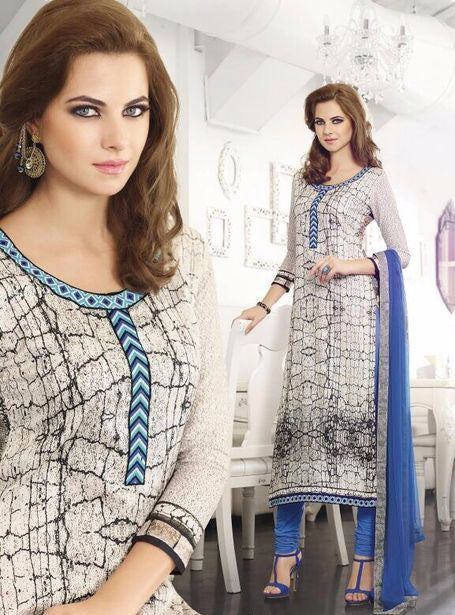 Omtex 502A White & Blue Color Cotton Long Designer Suit