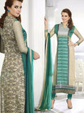 Omtex 503A Beige & Sea Green Color Cotton Long Designer Suit