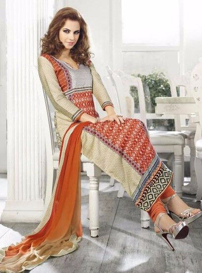 Omtex 503B Beige & Orange Color Cotton Long Designer Suit