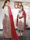 Omtex 506B Beige & Red Color Cotton Long Designer Suit