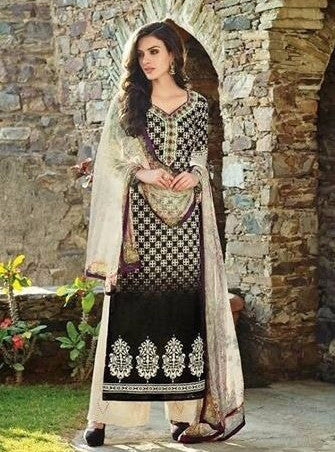 Omtex Amaira 1058 Black Color Designer Cotton Suit Dupatta