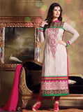 Pari 2804  White & Pink Color Georgette Long Designer Suit