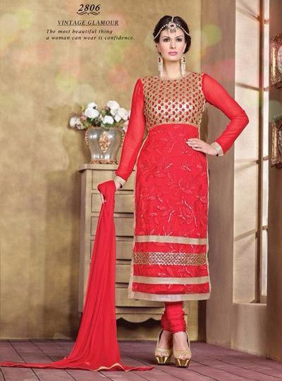 Pari 2806  Red Color Georgette Long Designer Suit