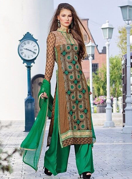 Pari 2901A  Green Color Georgett Designer Suit