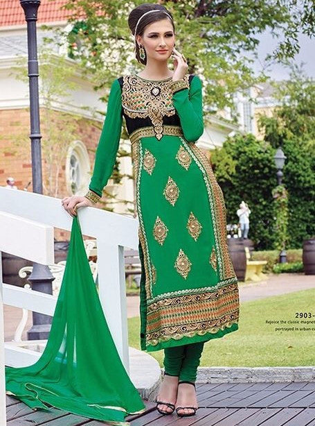 Pari 2903B  Green Color Georgett Designer Suit