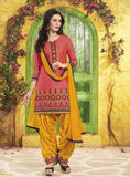 NS11303 Peach Color Chanderi Silk Patiala Designer Suit
