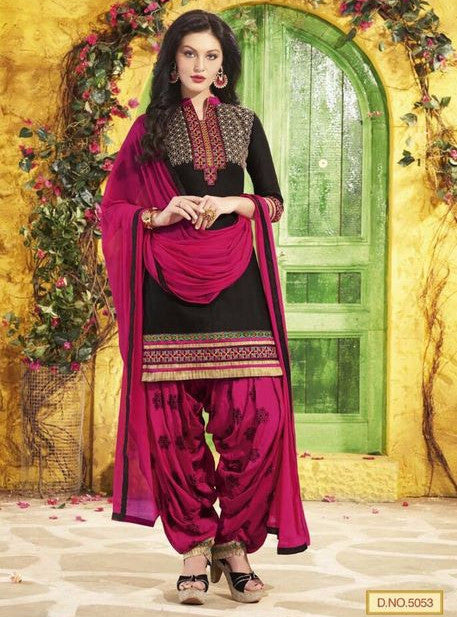 NS11304 Black & Purple Color Chanderi Silk Patiala Designer Suit