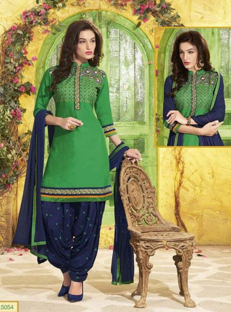 NS11305 Green Color Chanderi Silk Patiala Designer Suit