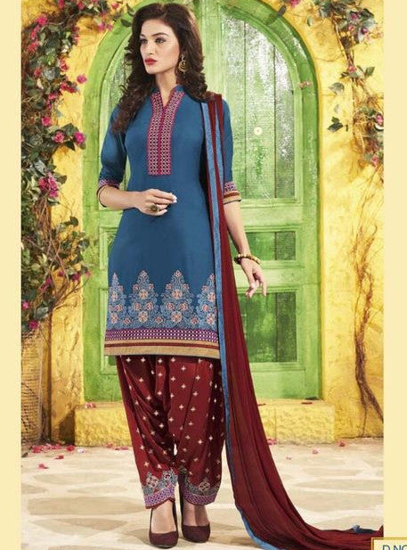 NS11306 Blue Color Chanderi Silk Patiala Designer Suit