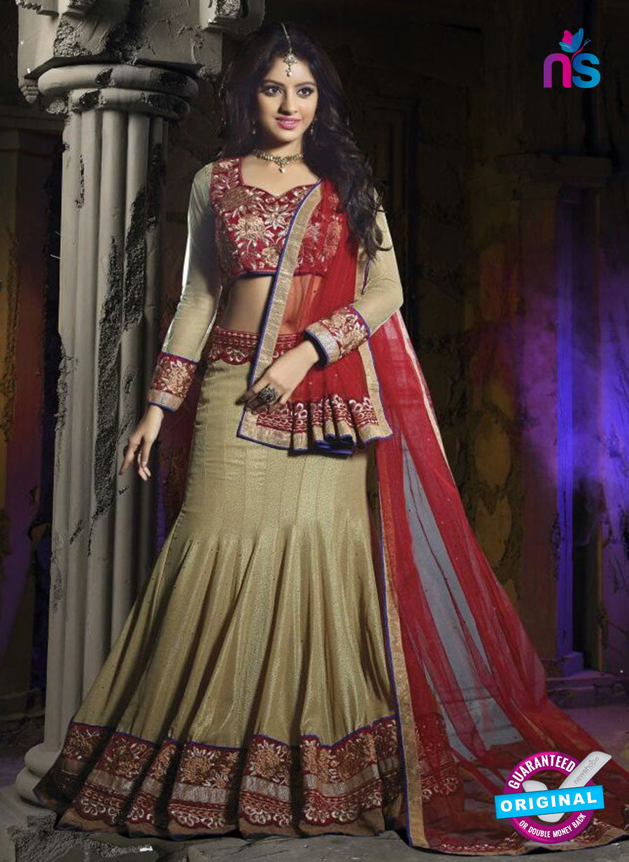 SC 12345 Beige and Maroon Valvet and Georgette Party Wear Lehenga Choli