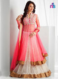 SC 12416  Pink and White Embroidered Net Party Wear Lehnga