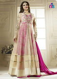 SC 12417  Beige and Magenta Embroidered Party Wear Semi Stitched Gawn Replica