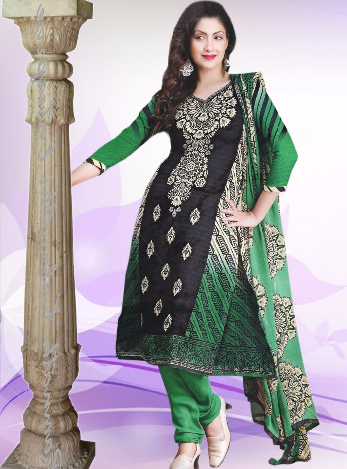 NS11363  Green & Black Color Pashmina Designer Suit