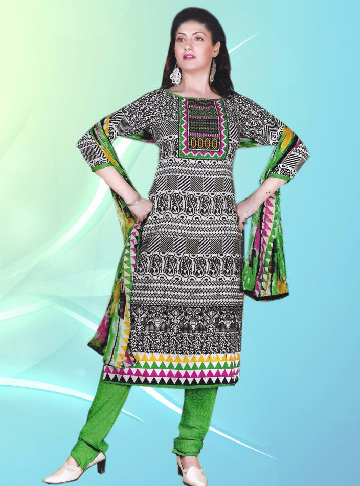 NS11368  Green & Black Color Pashmina Designer Suit