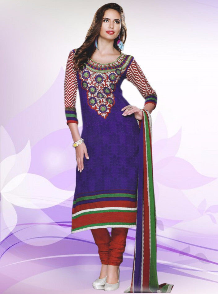 NS11369  Blue & Red Color Pashmina Designer Suit