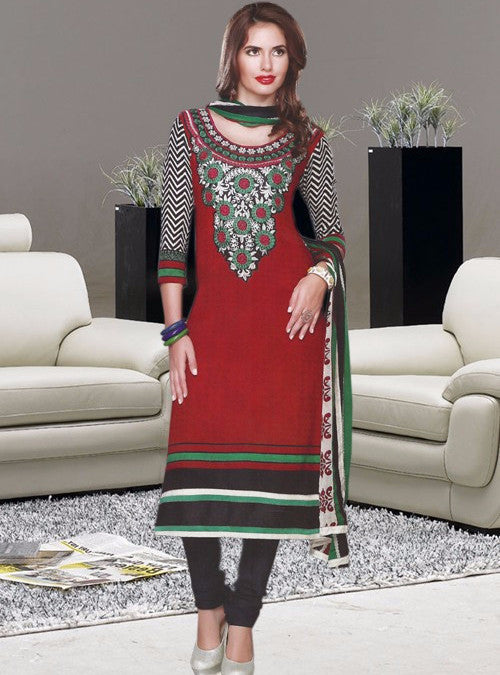 NS11371  Red Color Pashmina Designer Suit