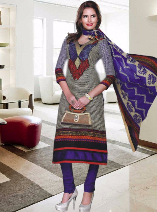 NS11376  Grey & Blue Color Pashmina Designer Suit