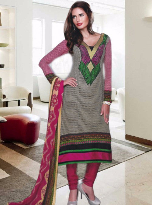 NS11377  Grey & Purple Color Pakistani Style Designer Suit