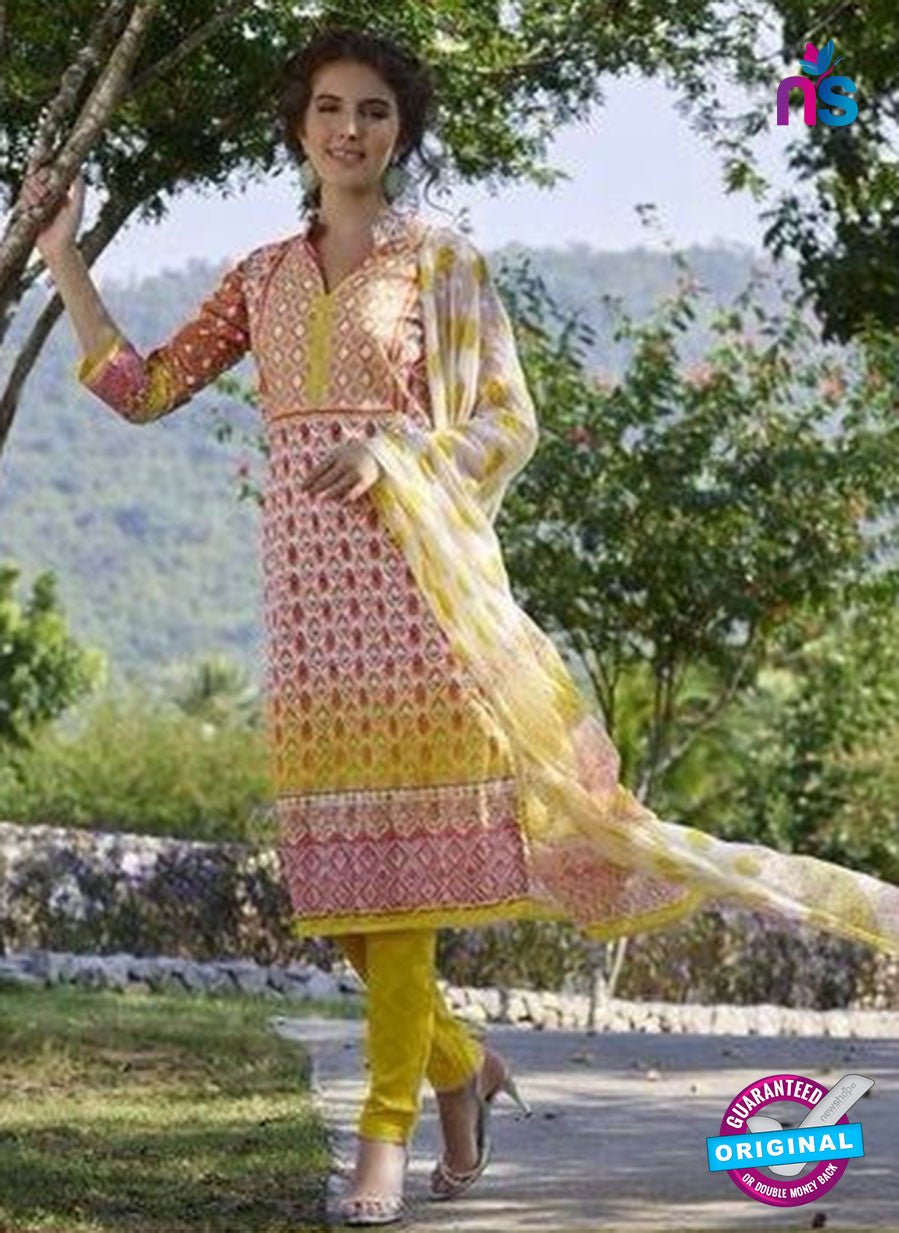 Rakhi 1107B white & Yellow Color Lawn Jacquard Cotton Long Designer Suit