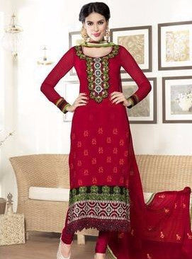Rakhi 2215 Red Color Georgette Long Designer Suit