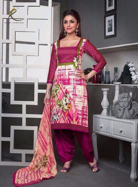 Rakhi 3014A Pink Color Glaze Cotton Designer Suit