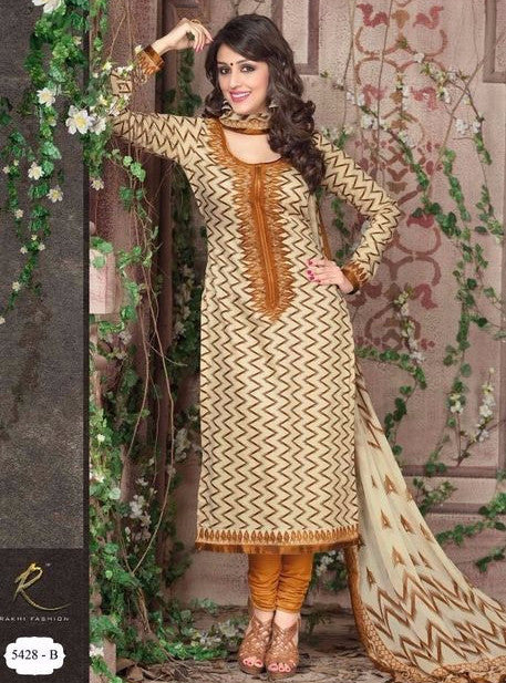 Rakhi 5432A Yellow Color Glazed Cotton Designer Suit